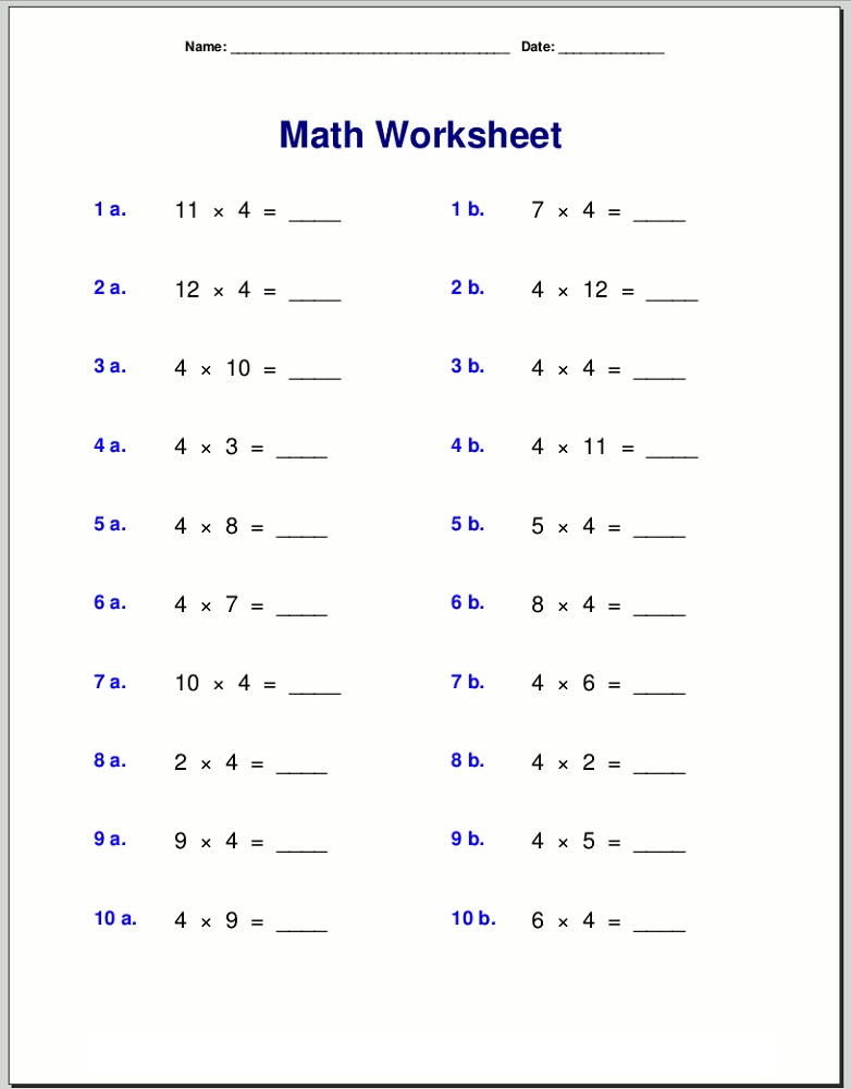 4 Times Table Worksheets Printable Activity Shelter