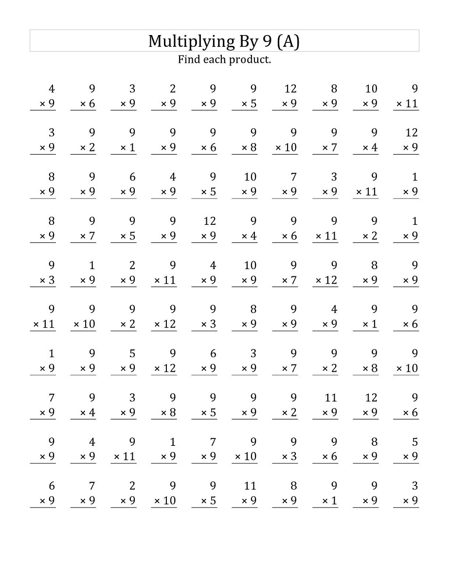 9 times table worksheets activity shelter for Table multiplication 9