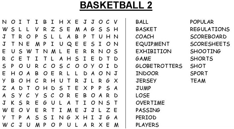 Basketball Word Search Activity Shelter