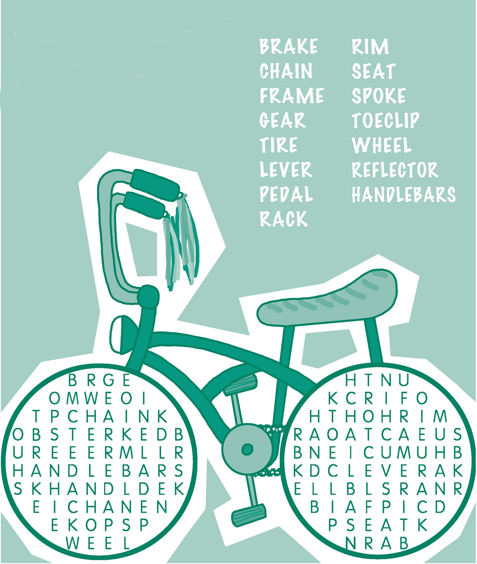children word search bicycle
