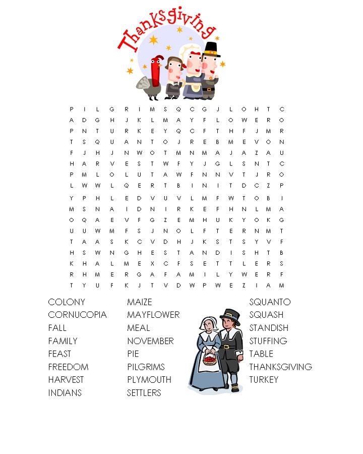 children word search thanksgiving