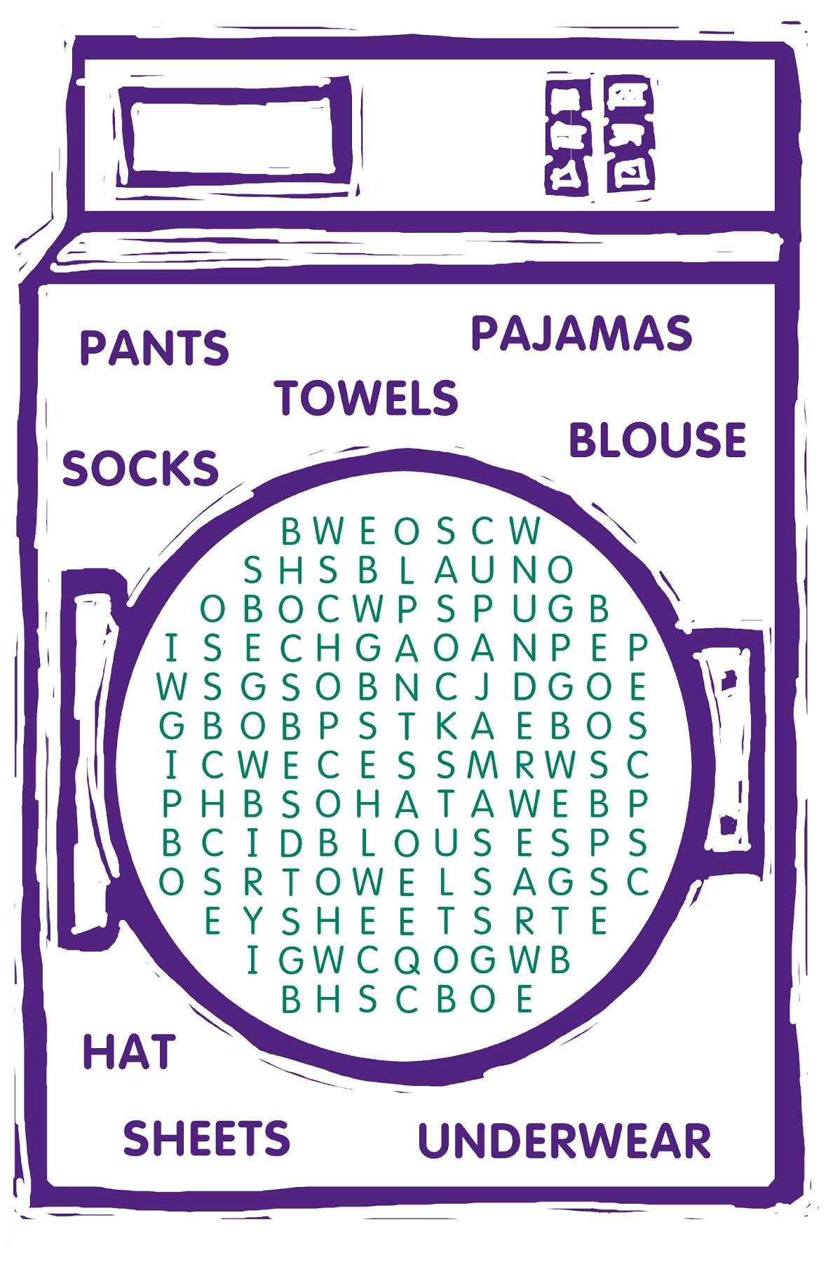 children word search washing