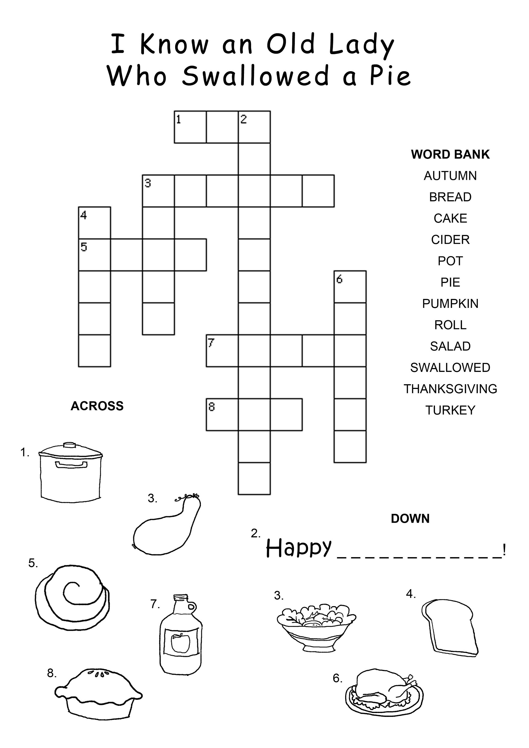 childrens crossword puzzles food