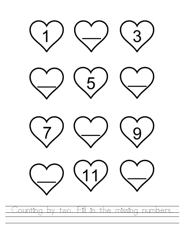 count by twos worksheet heart