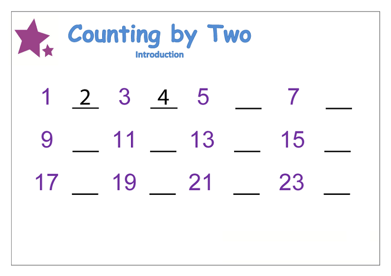 count by twos worksheet preschool