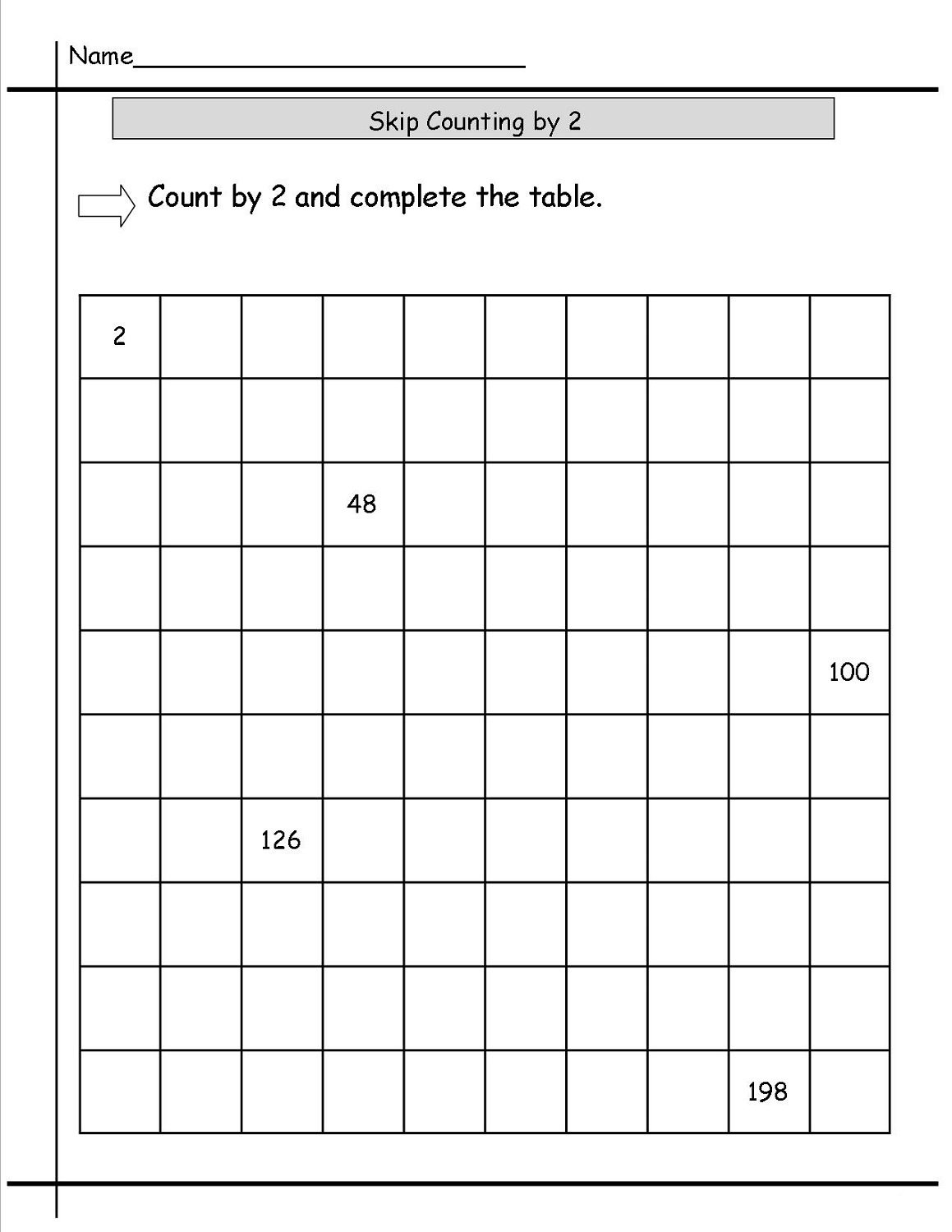 count by twos worksheet printable