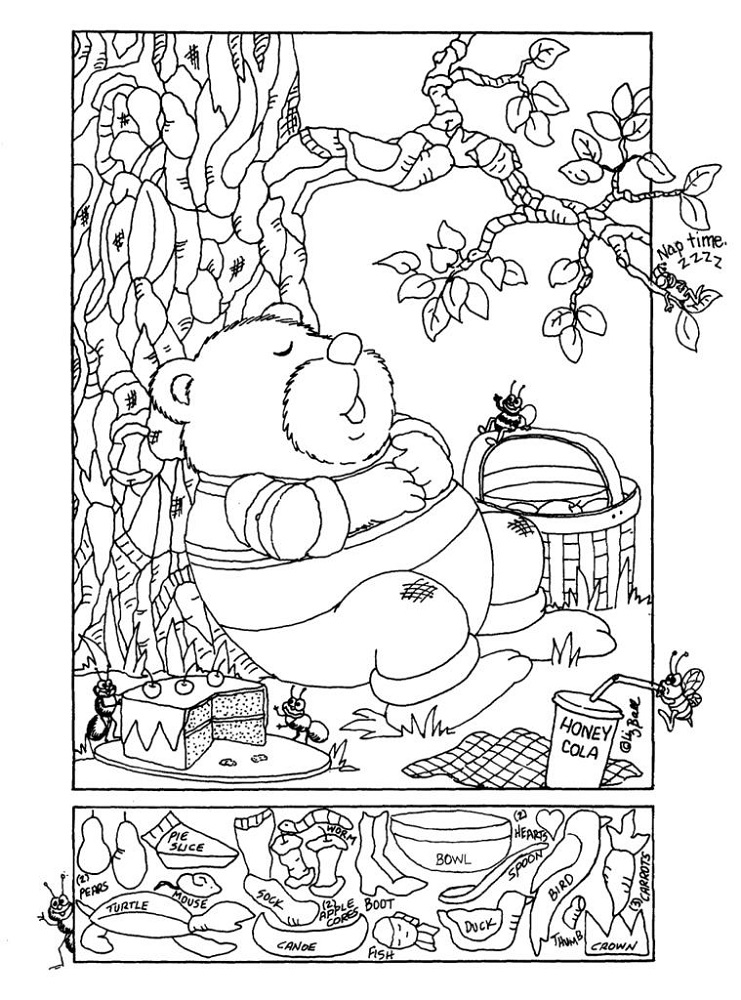 hidden pictures worksheets bear