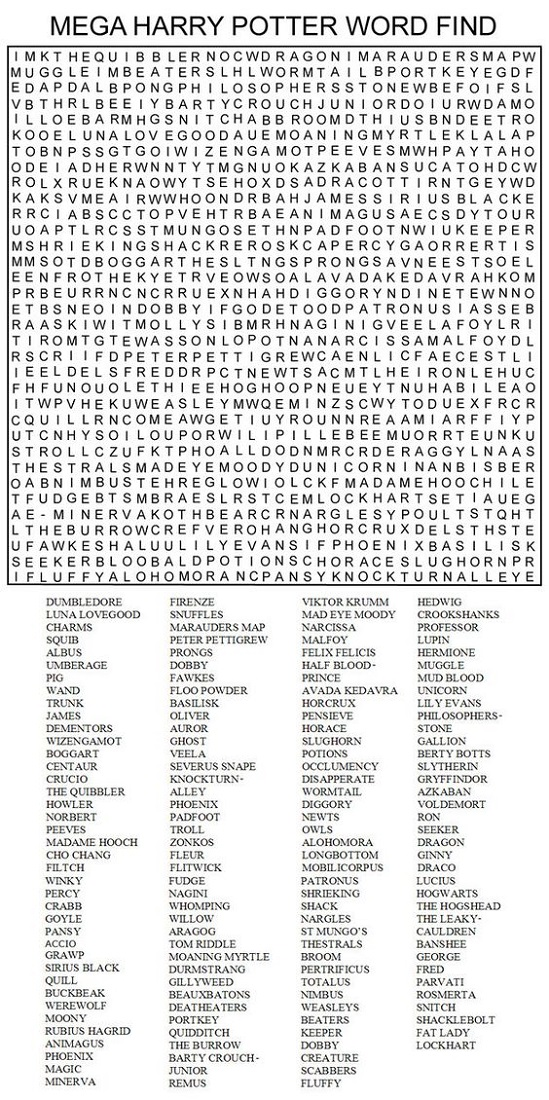 jumbo word search harry potter