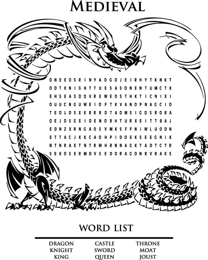 medieval word search dragon