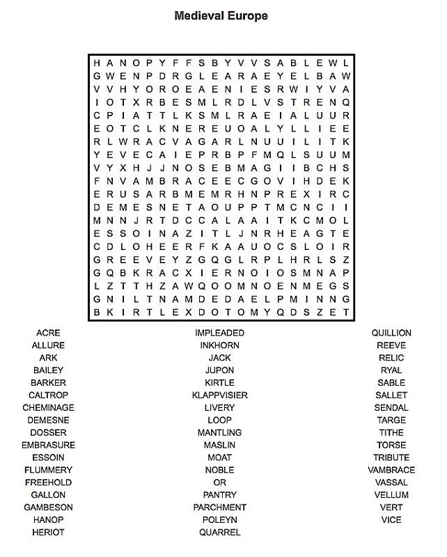medieval word search hard