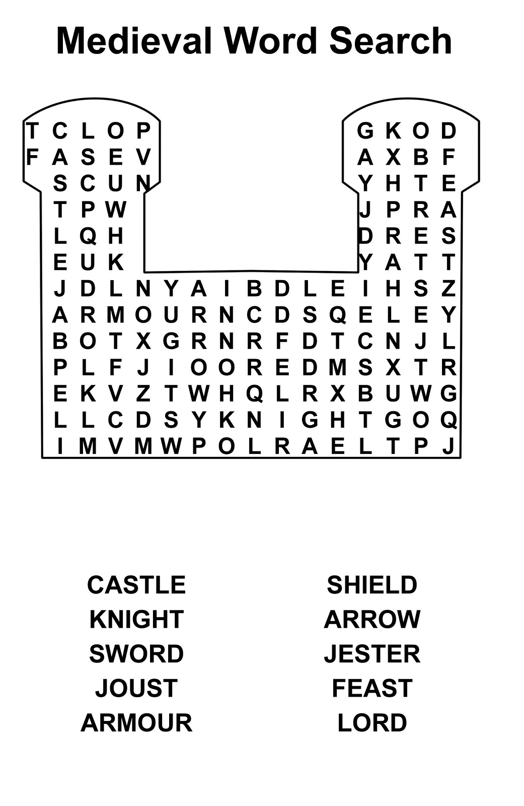 medieval word search printable