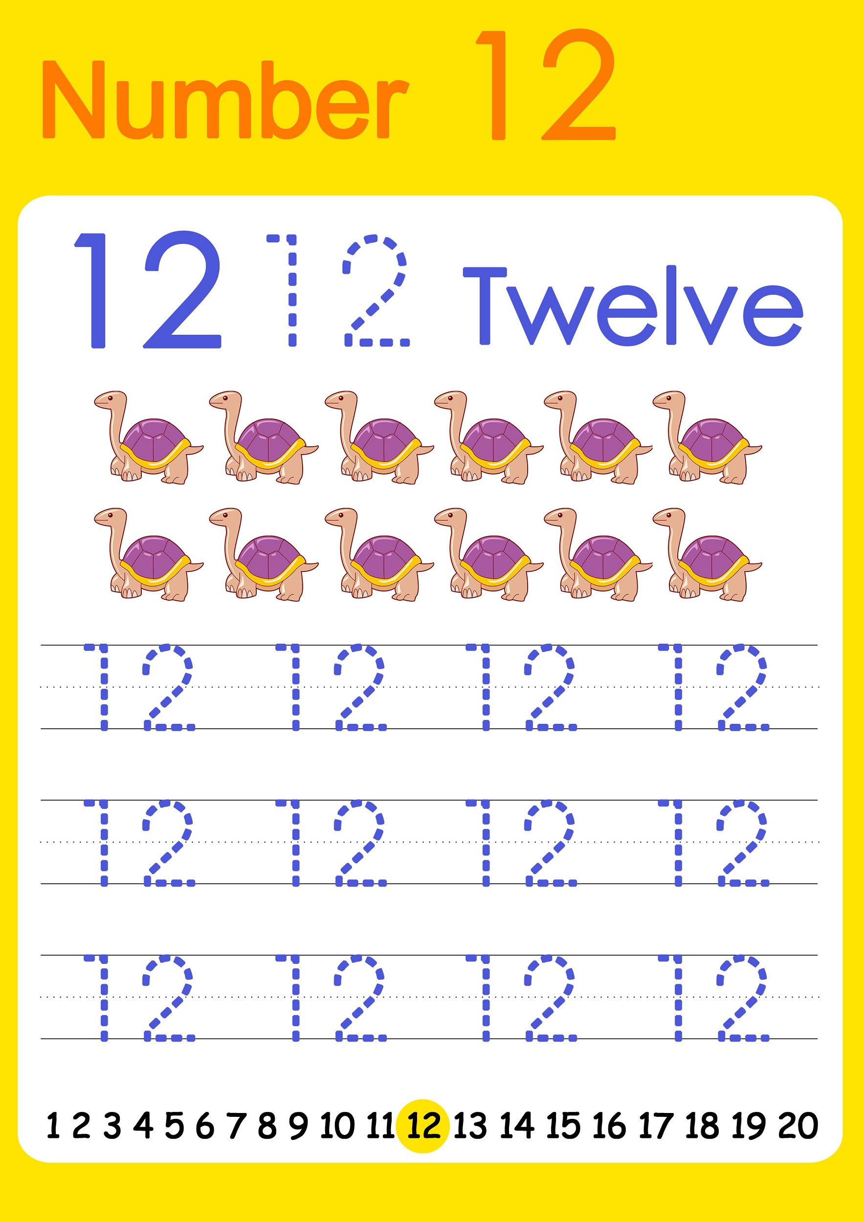 number 12 worksheets kindergarten
