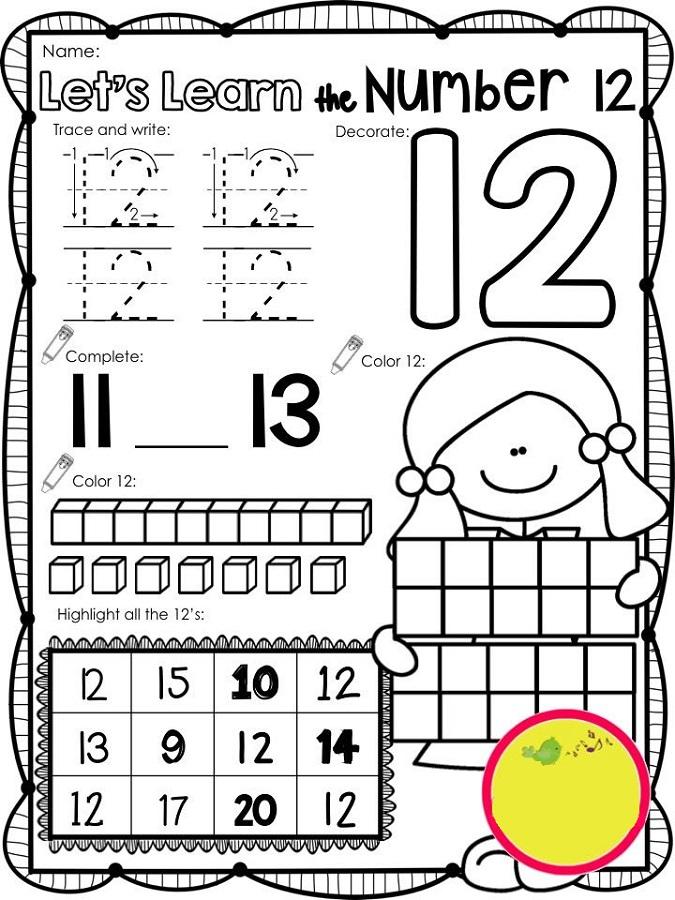 number 12 worksheets printable