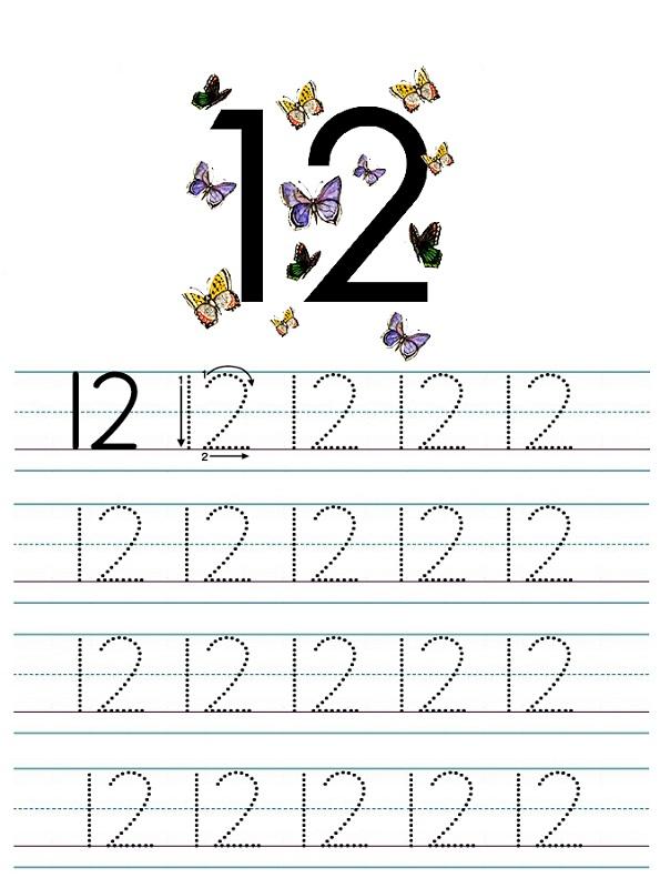 number 12 worksheets tracing