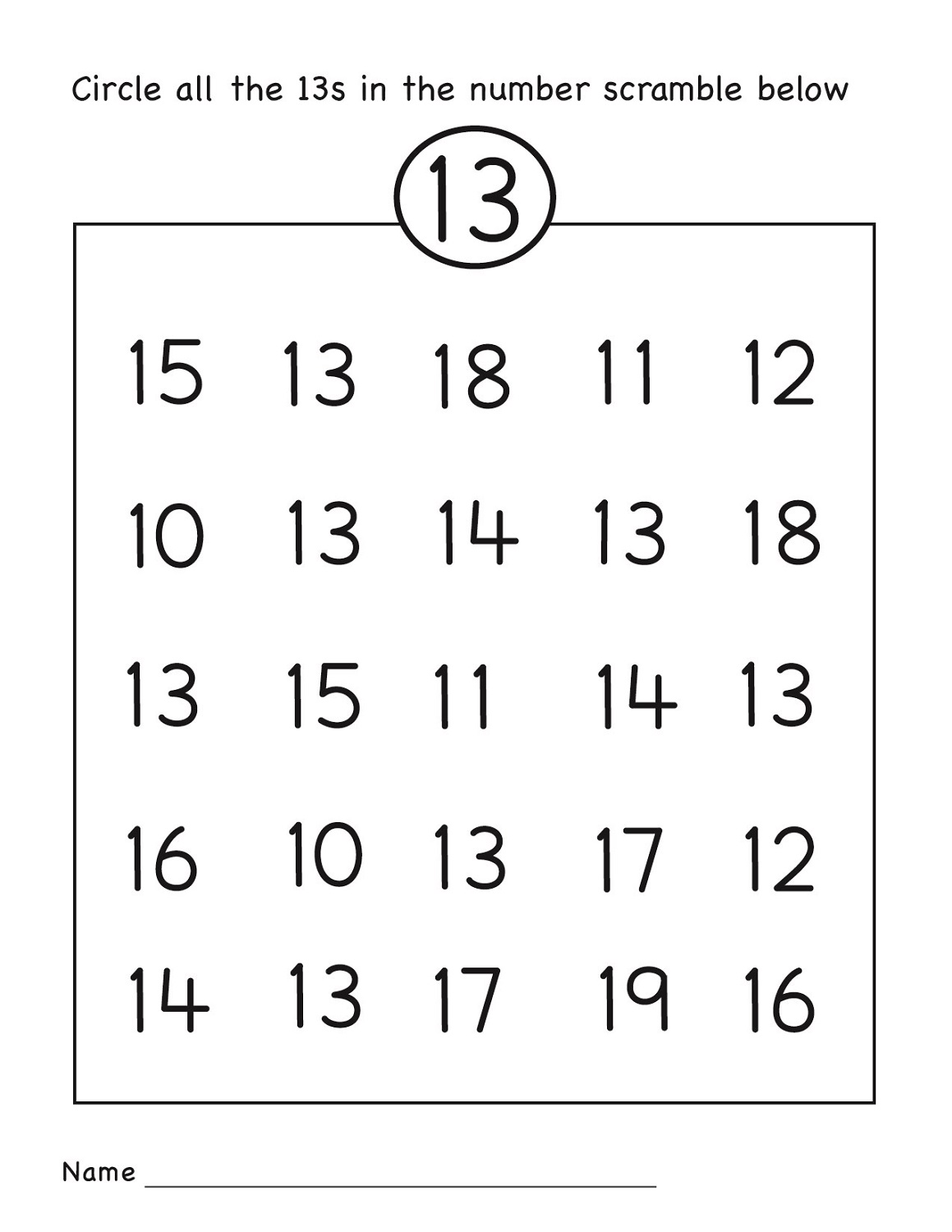 Number 13 Worksheets to Print – Worksheets to Print