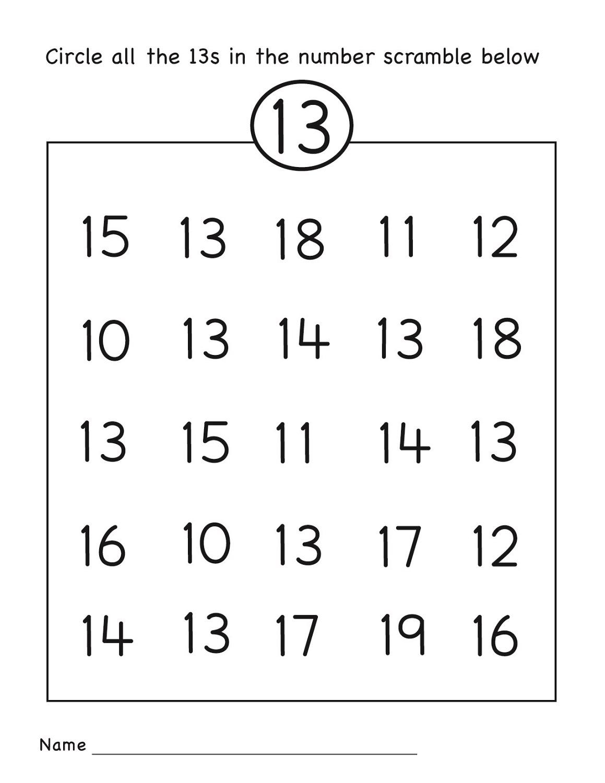 Number 13 Worksheets To Print Activity Shelter