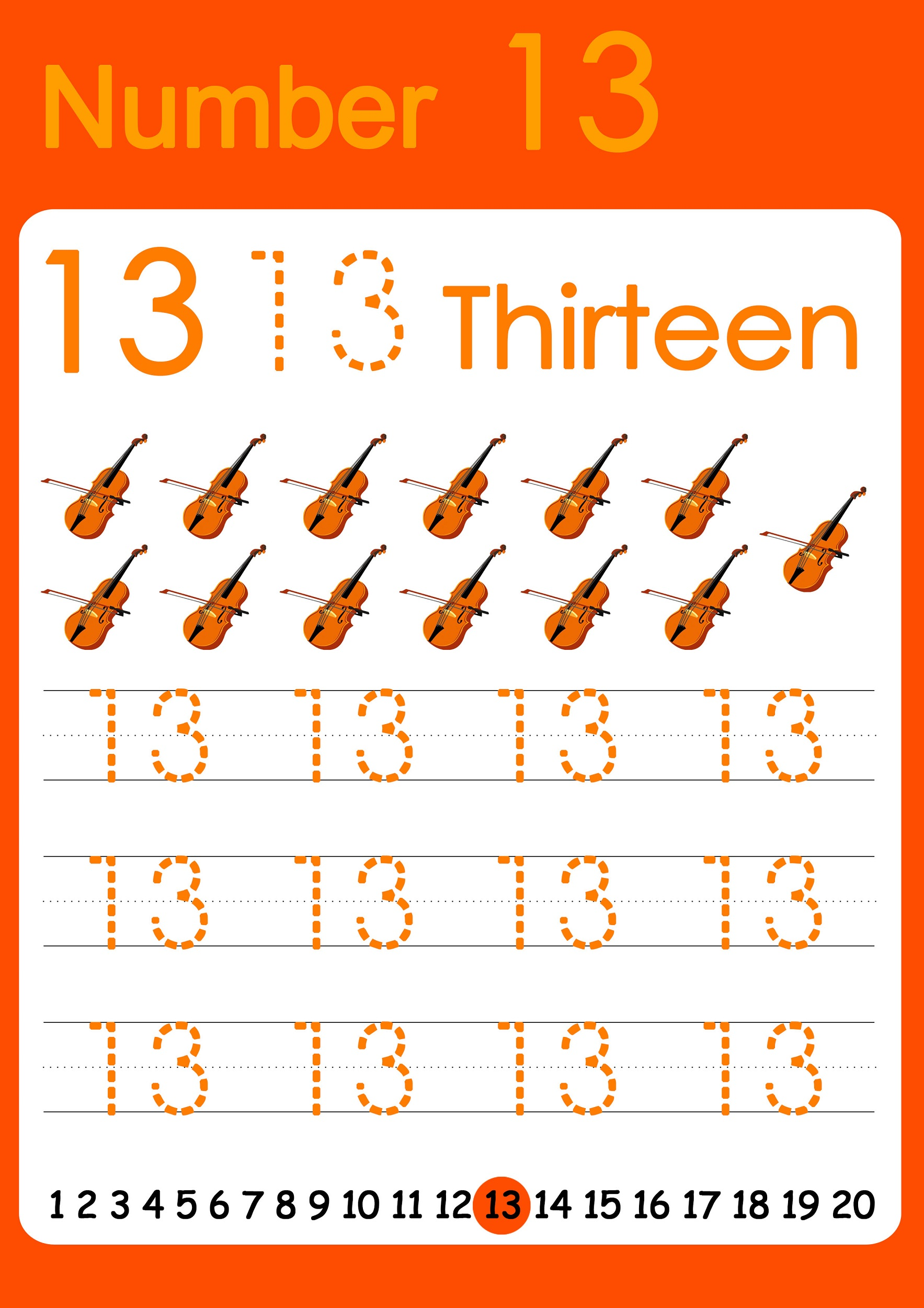number 13 worksheet printable