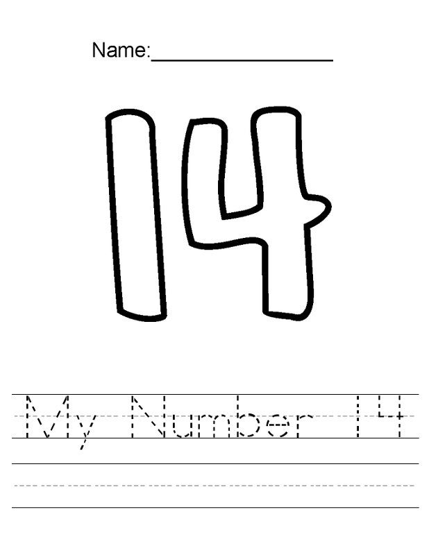number 14 worksheet for kids