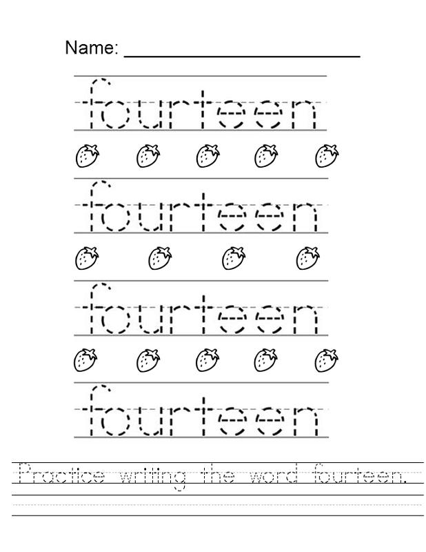 number 14 worksheet printable