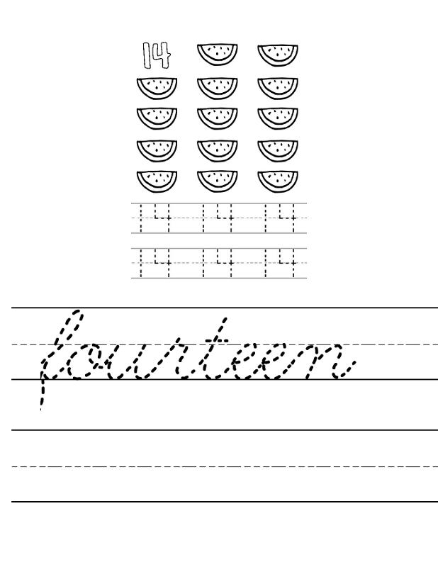 number 14 worksheet trace