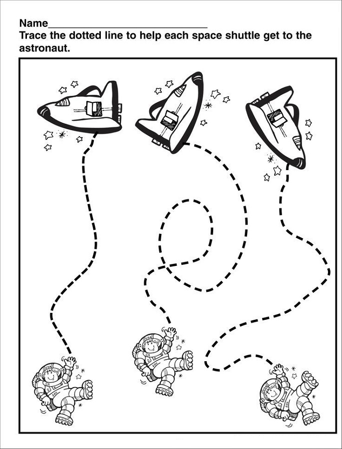 outer space worksheets for kids trace