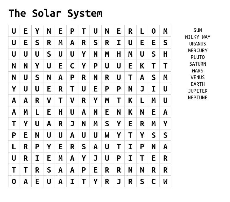 solar system wordsearch simple