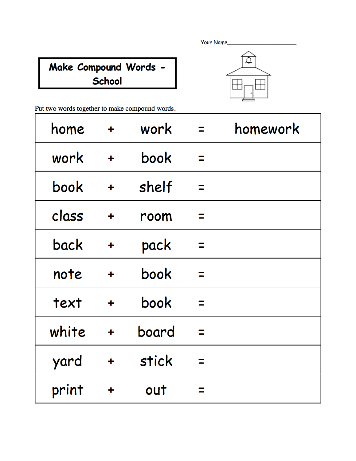 word games worksheets compound