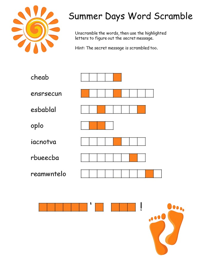 word scramble for kids summer