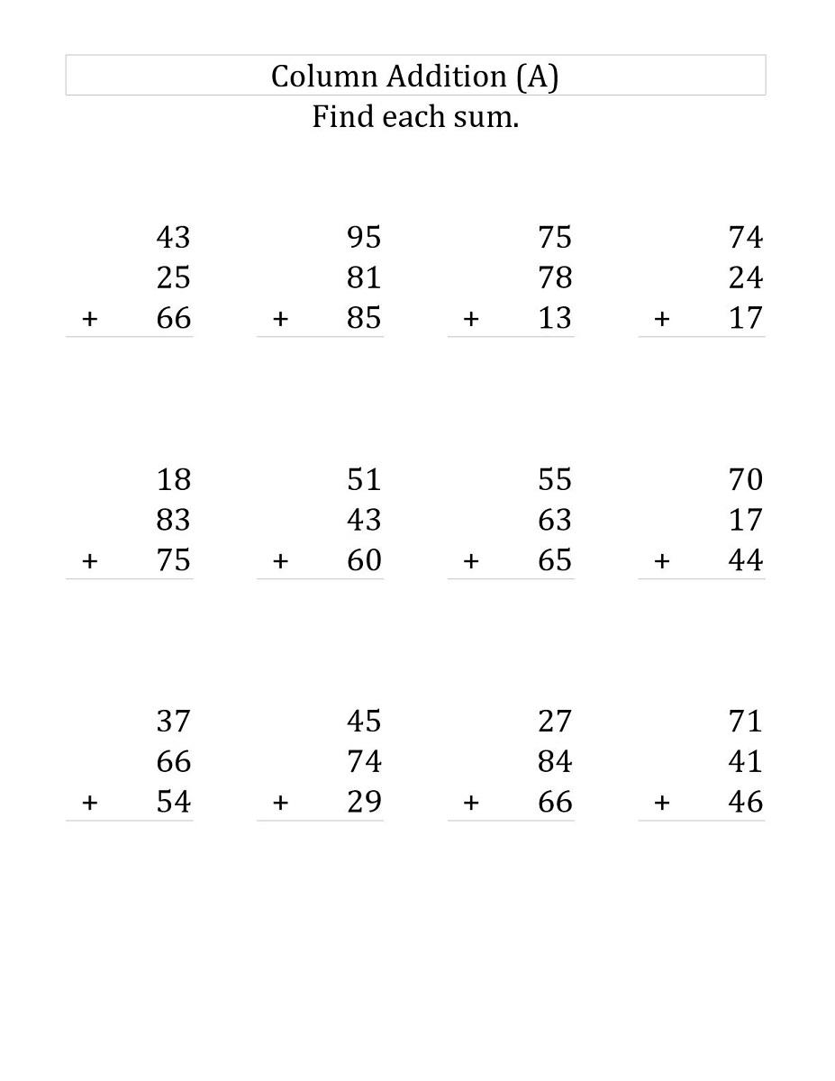 3 addends worksheet math