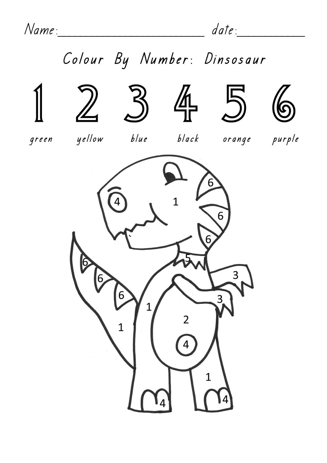 color by number sheets dino