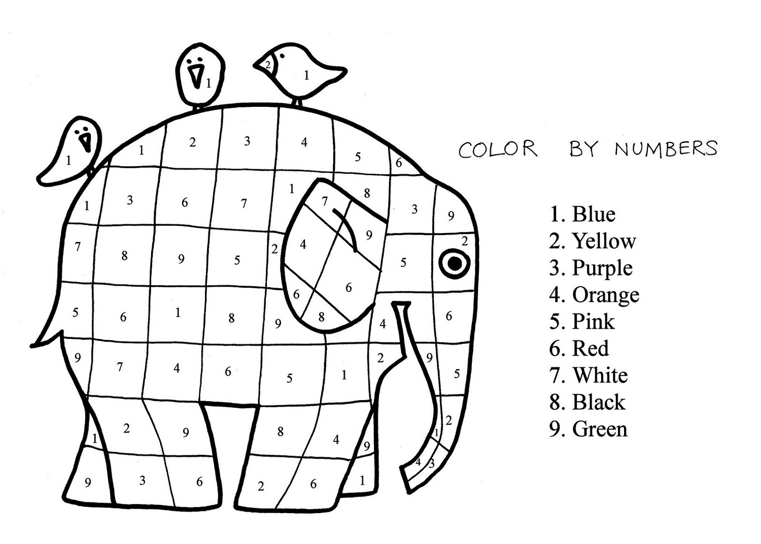 color by number sheets elephant