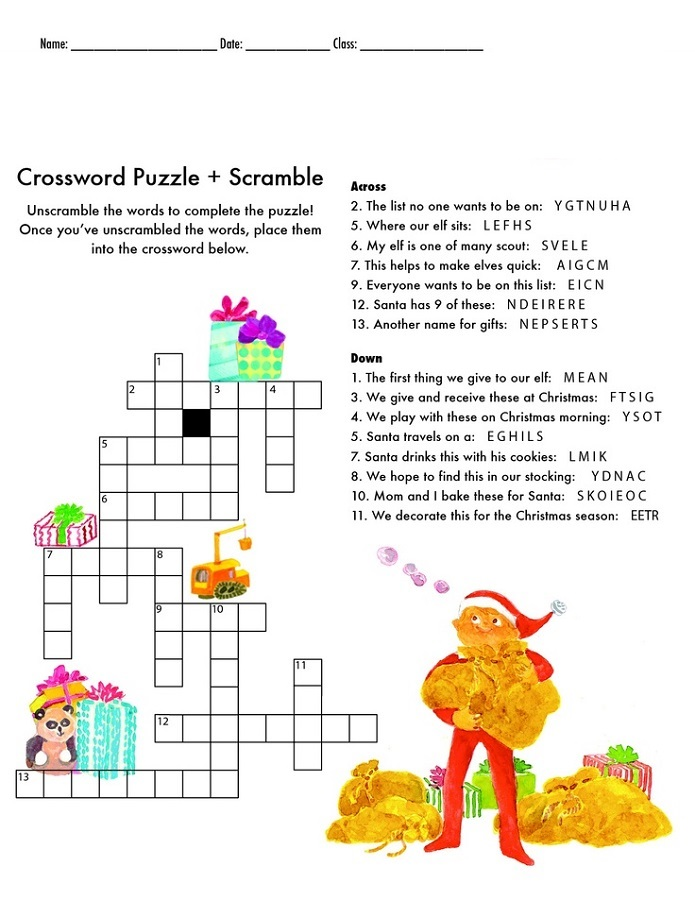crossword puzzles for 5th graders christmas