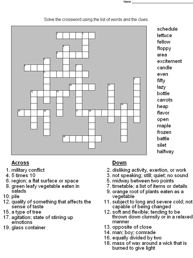 Crossword Puzzles for 5th Graders | Activity Shelter