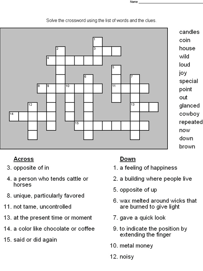crossword puzzles for 5th graders to print