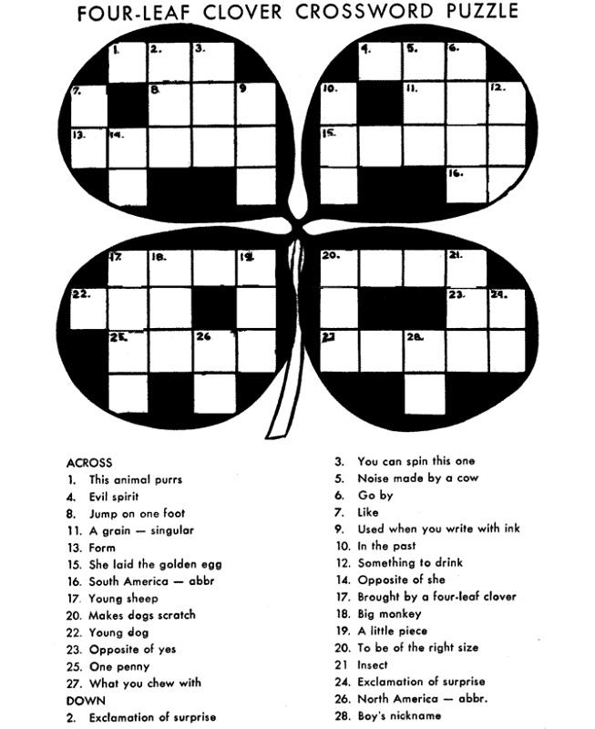 crosswords for kids leaf