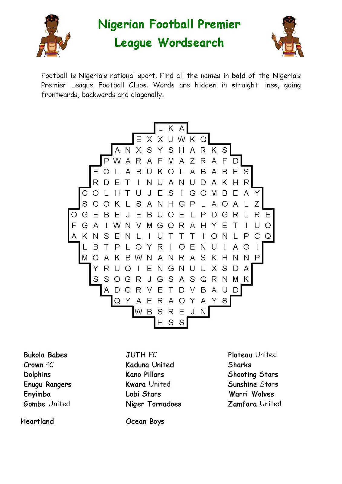 football word search nigerian