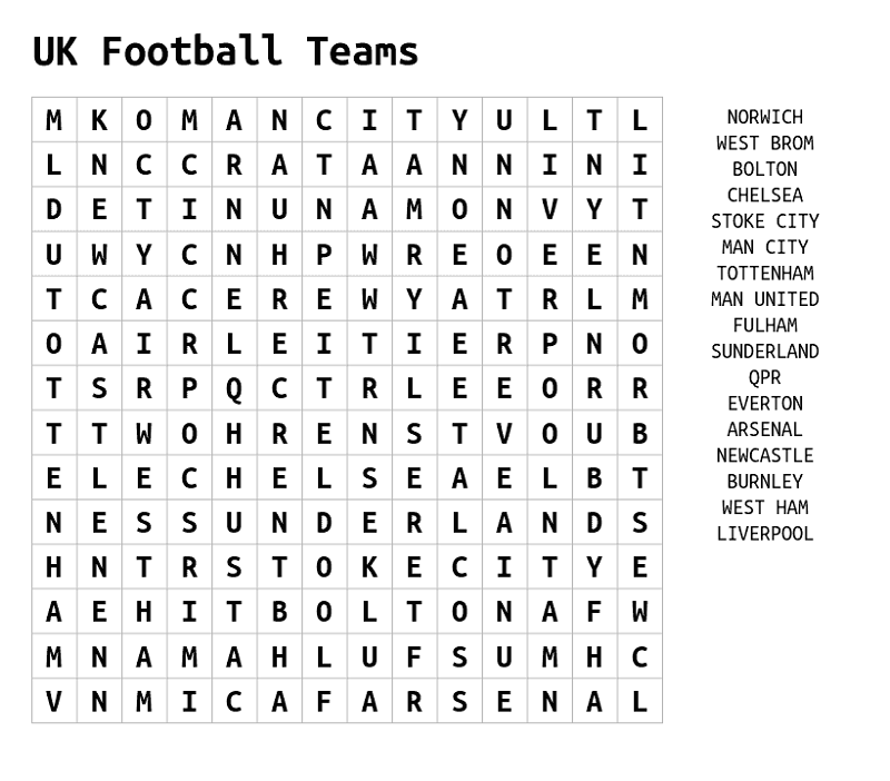 football word search team