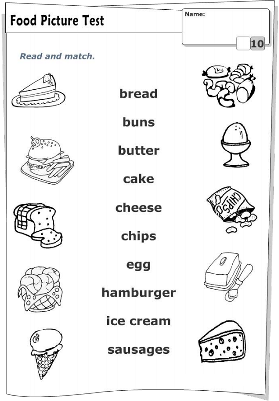fun activity worksheets for kids food