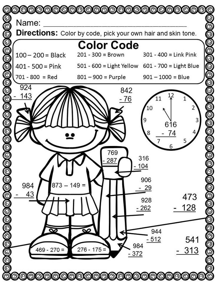 hard color by number worksheets girl