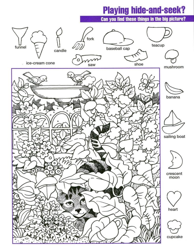 hidden picture worksheets cat