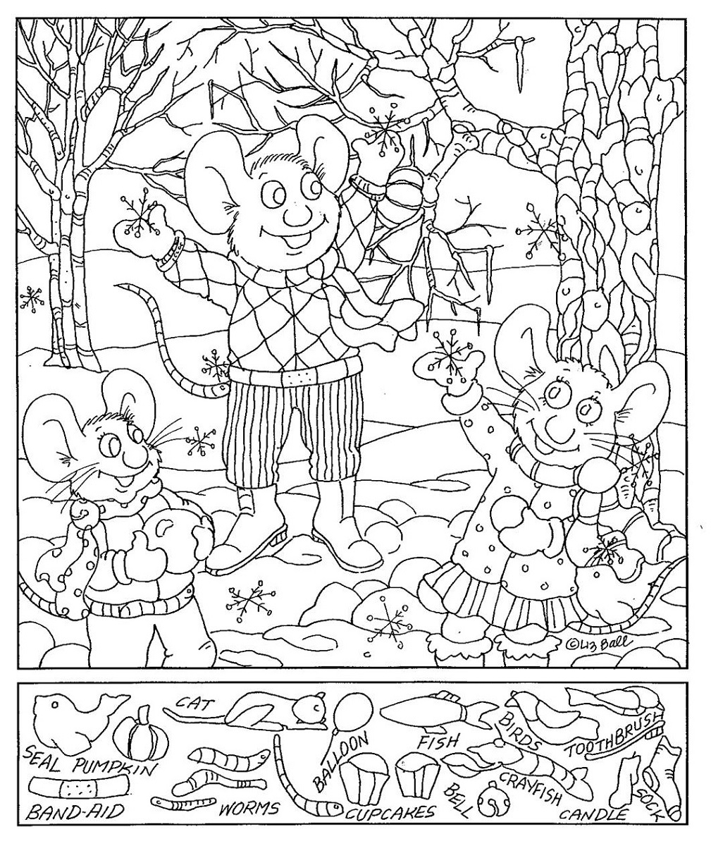 hidden picture worksheets winter