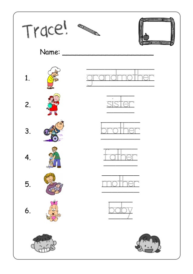 kids activity worksheets family