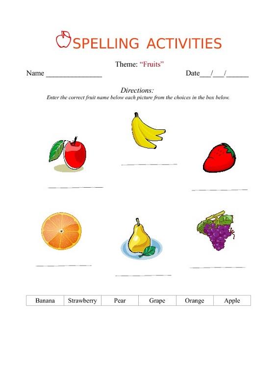 kids activity worksheets spelling