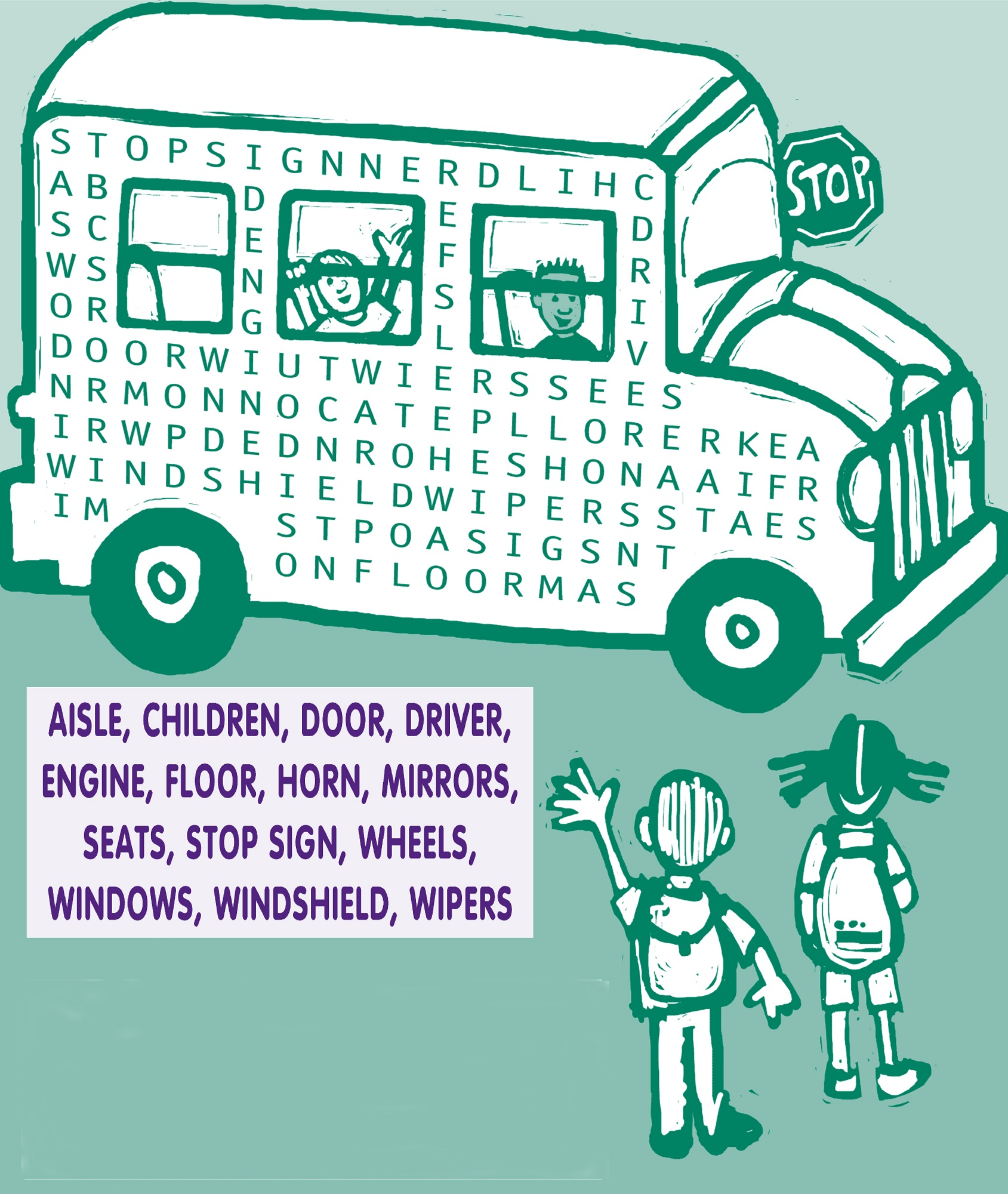 kids word searches bus