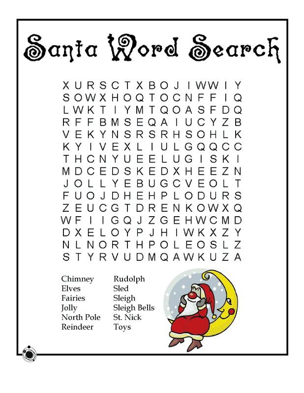 kids word searches santa