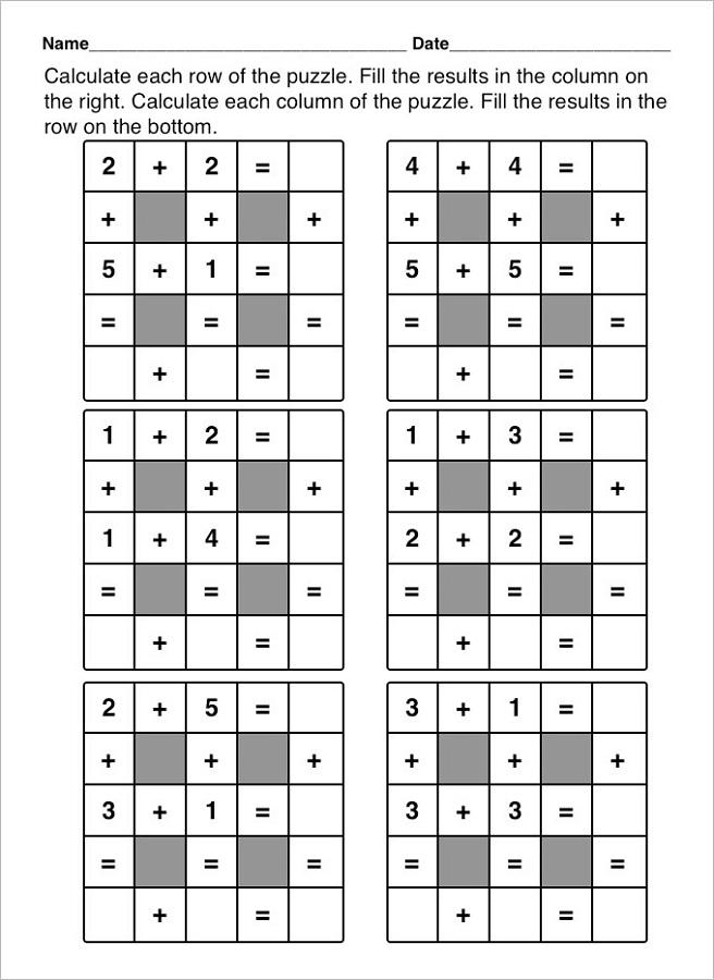 math worksheet fun simple