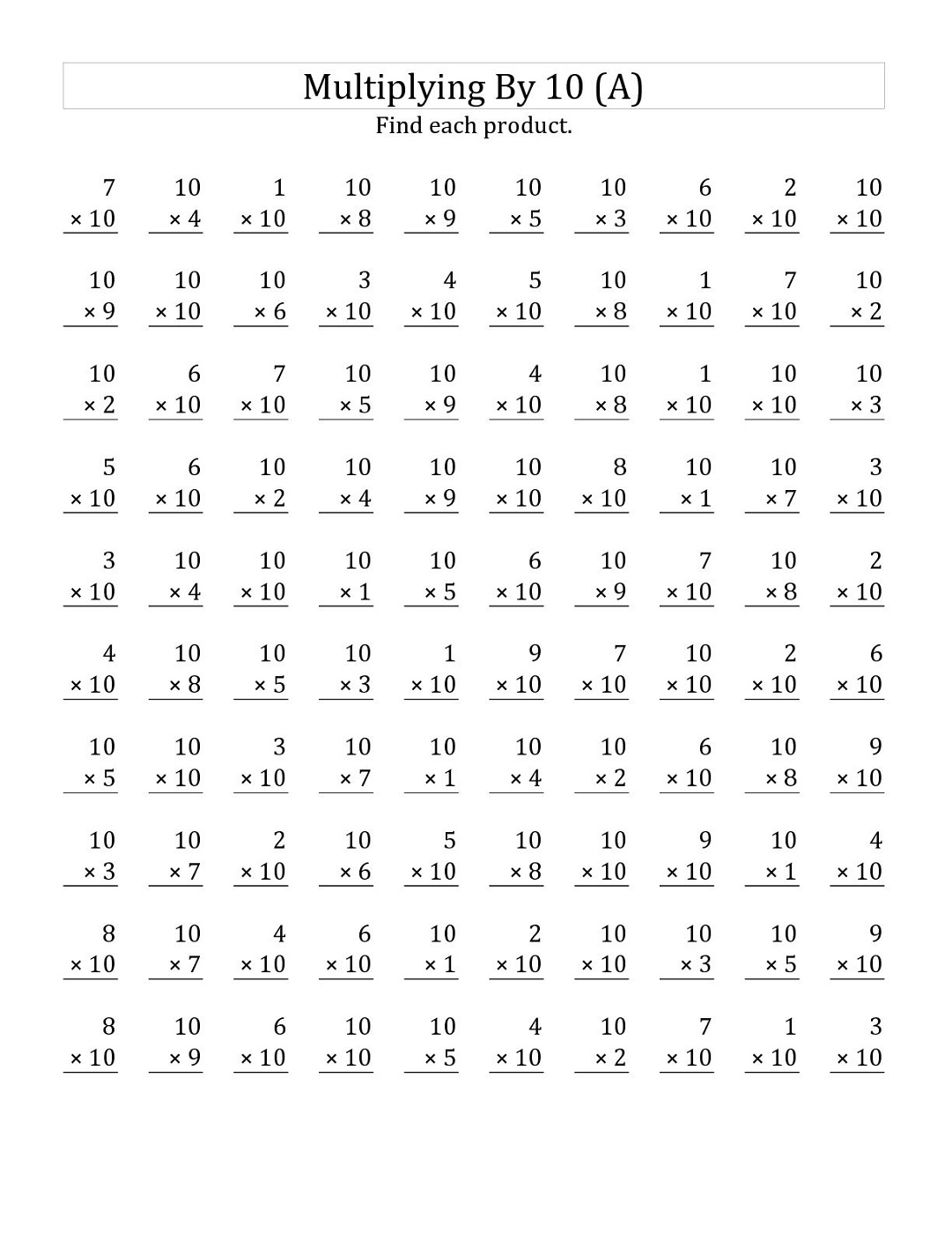 multiples of 10 worksheet printable