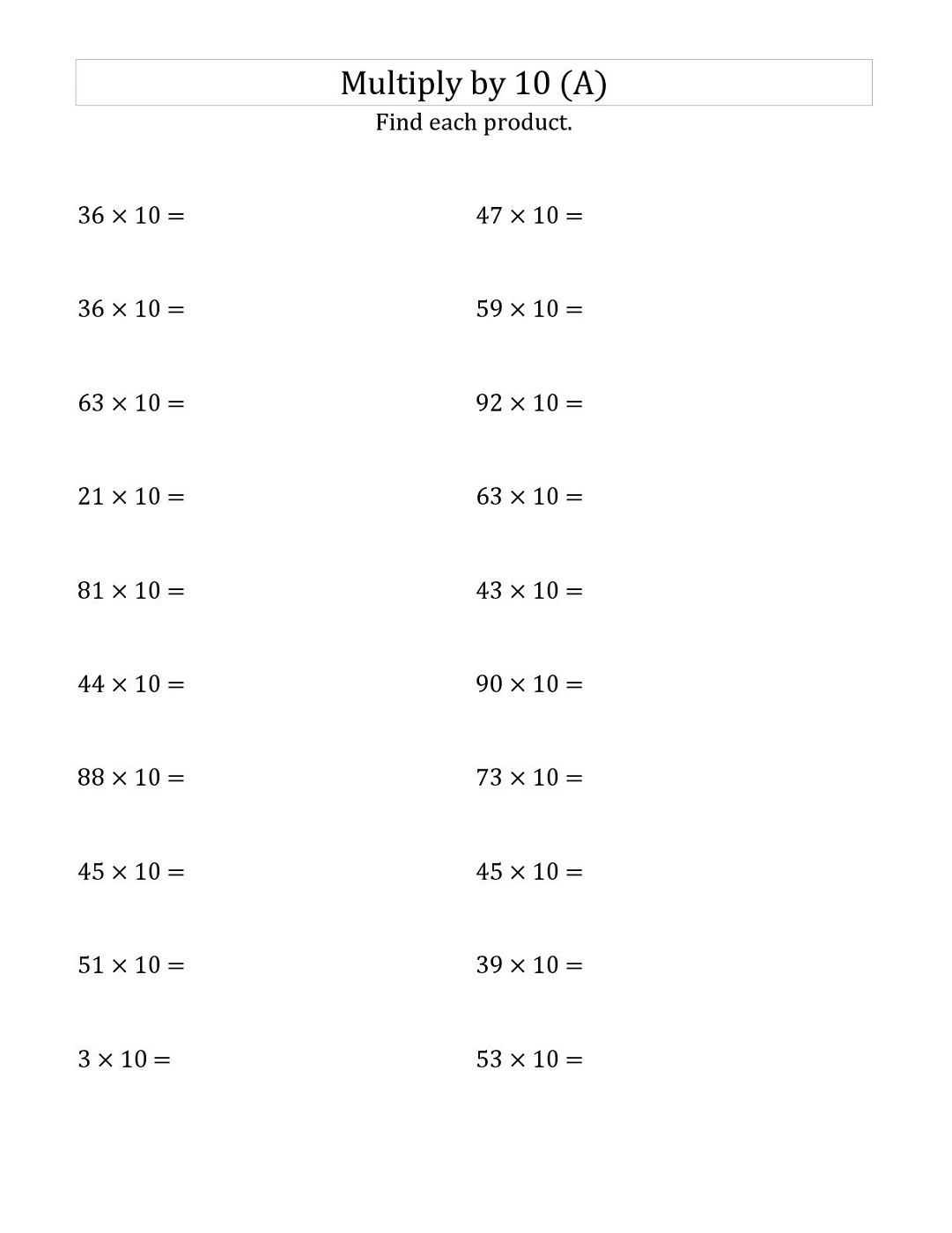 multiples of 10 worksheet simple