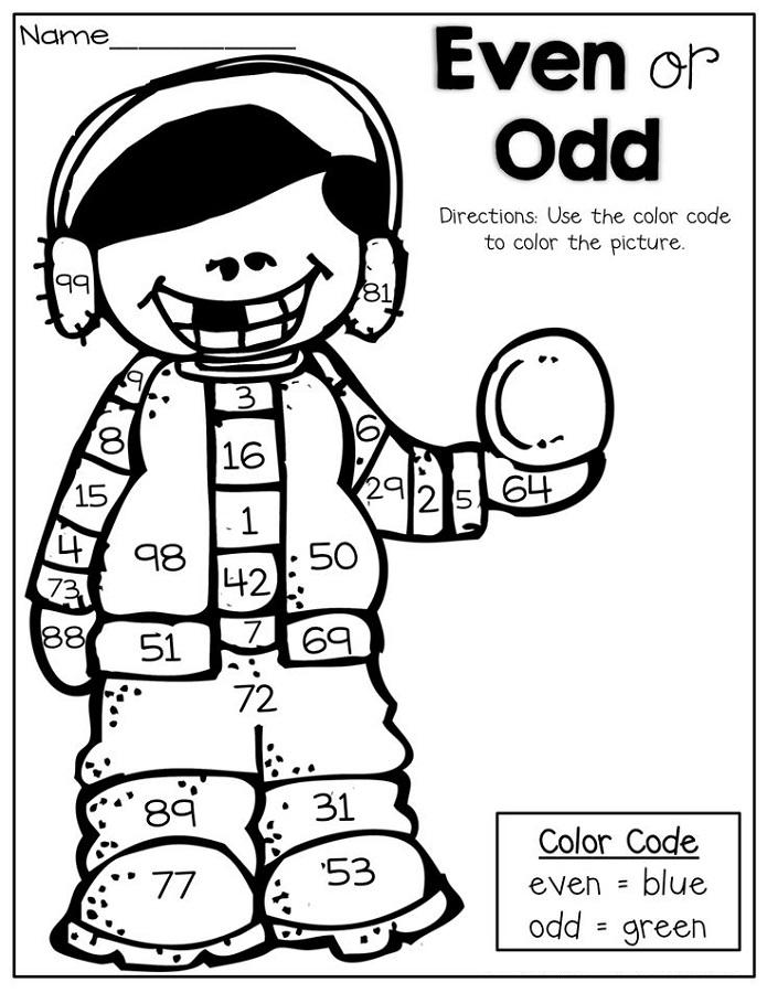 odd even worksheets color