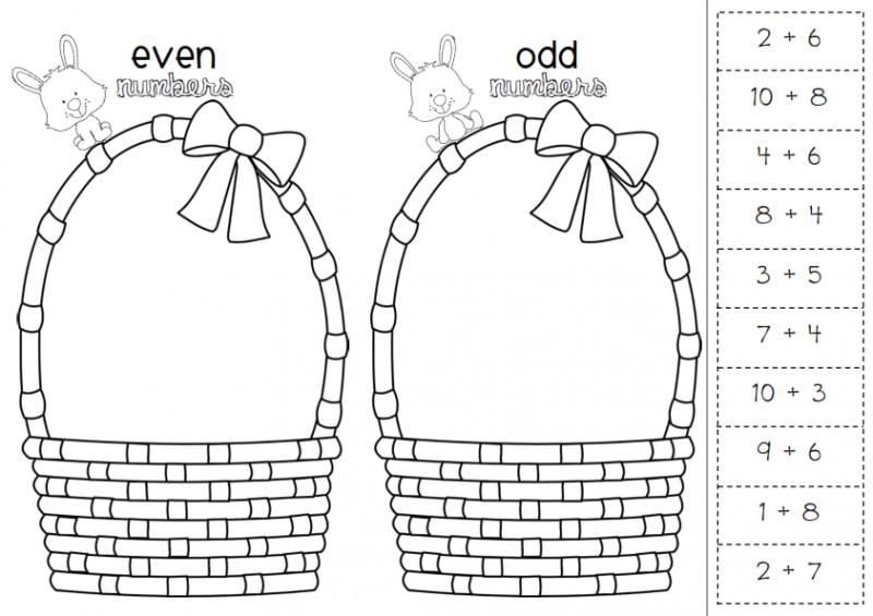 odd even worksheets easter